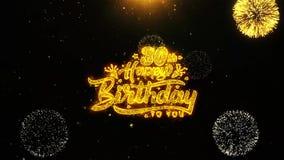 la 30ème carte de voeux de souhaits de joyeux anniversaire, invitation, feu d'artifice de célébration a fait une boucle illustration stock
