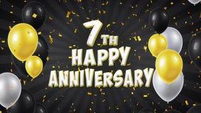 la 7èmes salutation et souhaits heureux de noir d'anniversaire avec des ballons, confettis ont fait une boucle le mouvement banque de vidéos