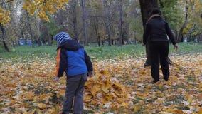 La época del año, otoño Niños que juegan en la naturaleza almacen de video