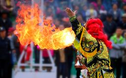 La ópera de Sichuan cambia su cara: Fiera de la ópera de Sichuan fotografía de archivo