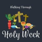 La última cena de Jesus Christ, el Jueves Santo de la semana santa de jueves, estableció el sacramento de la comunión santa antes ilustración del vector