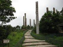 La 'trayectoria espiritual de la sabiduría 'cerca del pueblo del silbido de bala de Ngong, isla de Lantau, Hong Kong foto de archivo libre de regalías