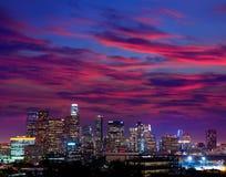 街市LA夜洛杉矶日落地平线加利福尼亚 免版税图库摄影