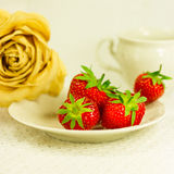 la Aún-vida con el juego de té, seca color de rosa y la fresa Foto de archivo libre de regalías
