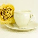 la Aún-vida con el juego de té y seca color de rosa Fotografía de archivo libre de regalías