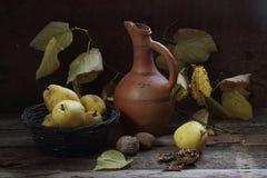 la Aún-vida con las peras, las nueces, un jarro y un otoño ramifican Imagenes de archivo