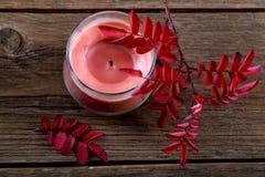 la Aún-vida con una vela y seca las hojas Imagen de archivo