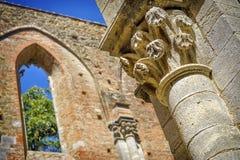 La abadía antigua de San Galgano, Toscana Chiusdino, Siena, Italia Imágenes de archivo libres de regalías