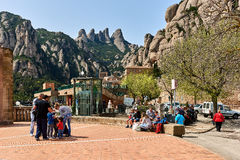 La abadía benedictina de Santa Maria de Montserrat Foto de archivo libre de regalías