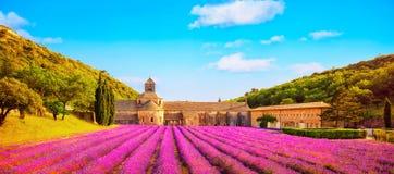 La abadía de la lavanda floreciente de Senanque florece la visión panorámica Gord Imagen de archivo libre de regalías