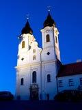 La abadía de Tihany por noche Imagen de archivo