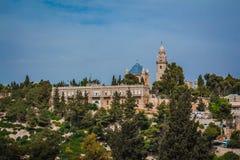 La abadía del edificio de Dormition en el monte Sion en Jerusalén Foto de archivo libre de regalías