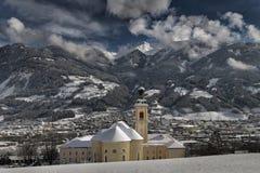 La abadía Fiecht de los benedictinos en un día hermoso en invierno Imagenes de archivo