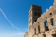 La abadía Románica de Sant Pere de Rodes, en el municipio Foto de archivo libre de regalías