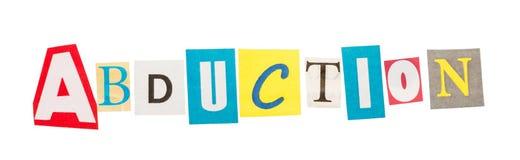 La abducción de la palabra compuesta de letras cortadas Imagen de archivo libre de regalías