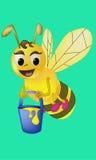 La abeja de la historieta lleva el ejemplo del vector de la miel Imágenes de archivo libres de regalías