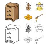 La abeja, el apicultor en la máscara, el panal de la miel Iconos determinados de la colección del colmenar en la historieta, esti Foto de archivo