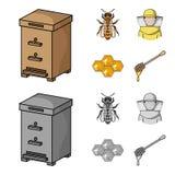 La abeja, el apicultor en la máscara, el panal de la miel Iconos determinados de la colección del colmenar en la historieta, esti Fotografía de archivo libre de regalías