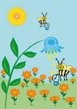 La abeja recoge el néctar Libre Illustration