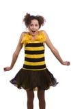 La abeja viste a la mujer que parece sorprendida. fotos de archivo libres de regalías
