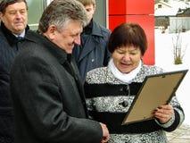 La abertura del primera en sala de espera modular de Rusia en el ` de Matlievska del ` del ferrocarril en la región de Kaluga Fotos de archivo libres de regalías