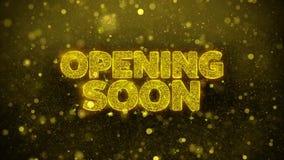 La abertura pronto desea la tarjeta de felicitaciones, invitación, fuego artificial de la celebración