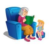 La abuela lee un libro a la muchacha Vector Foto de archivo