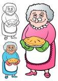 La abuelita hizo una empanada para todos los niños Foto de archivo
