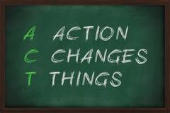 La acción cambia cosas Imagenes de archivo