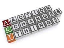 La acción cambia cosas Imágenes de archivo libres de regalías
