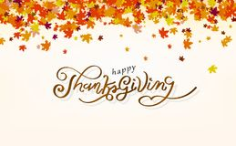 La acción de gracias, concepto del otoño del diseño de la felicidad del mensaje de la caligrafía, hojas de arce dispersa el racim libre illustration