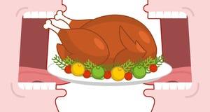 La acción de gracias feliz come el pavo cocinado Boca abierta para hacer la carne asada f stock de ilustración