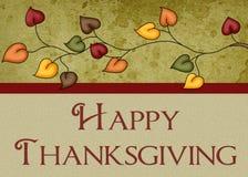 La acción de gracias feliz deja la tarjeta Fotos de archivo