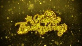 La acción de gracias feliz desea la tarjeta de felicitaciones, invitación, fuego artificial de la celebración