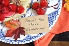 La acción de gracias, gracias por el lugar Good Company carda el primer Foto de archivo