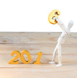 La acción de la Feliz Año Nuevo 2016 se está moviendo desde el número cinco al número Foto de archivo libre de regalías