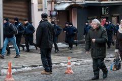 La acción de la protesta en Kyiv central Foto de archivo