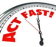 La acción de la urgencia del tiempo de reloj del acto ahora requirió oferta limitada