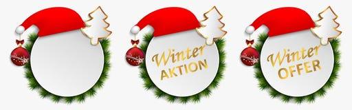 La acción de la Navidad ofrece los botones aislados, acción del dial del vector del descuento del invierno de la bandera Fije de  ilustración del vector