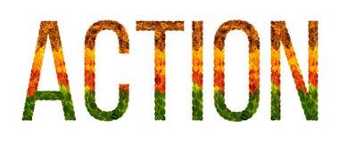 La acción de la palabra se escribe con el fondo aislado blanco de las hojas, bandera para imprimir, ejemplo creativo de coloreado Imágenes de archivo libres de regalías