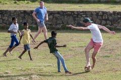 La acción del segundo test match Australia versifica Sri Lanka en Galle en Sri Lanka Imagen de archivo