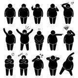 La acción gorda del hombre plantea las posturas Cliparts Imagen de archivo libre de regalías