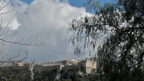 La acrópolis de Atenas-Grecia al mediodía almacen de metraje de vídeo