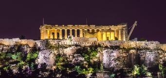 La acrópolis en la noche fotografía de archivo libre de regalías