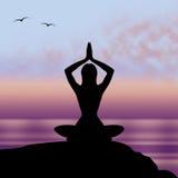 La actitud de la yoga significa la postura Harmony And Feel Foto de archivo