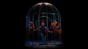 La actriz gira en el aro del aire en una jaula Fondo negro Cámara lenta almacen de metraje de vídeo