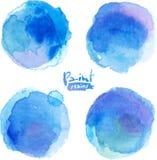 La acuarela azul brillante pintó manchas fijadas Foto de archivo