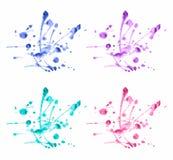 La acuarela colorida del vector salpica el sistema Imágenes de archivo libres de regalías