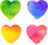 La acuarela colorida pintó el sistema del vector de los corazones Foto de archivo
