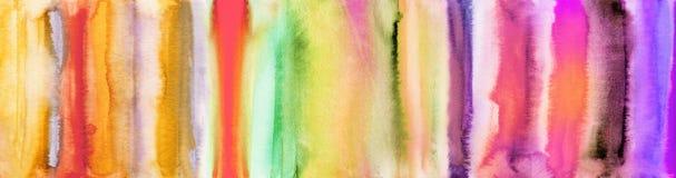 La acuarela colorida raya y texturiza la bandera stock de ilustración